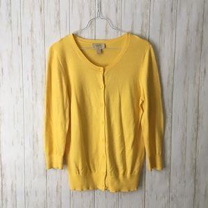 loft • yellow cotton button thin 3/4 slvs cardigan
